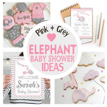 Pink and Grey Elephant Baby Shower Ideas + Party Collection