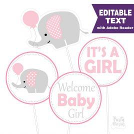 Pink Elephant Centerpiece, Editable Baby shower DIY Printable Centerpiece, Instant download -D331 BBEP1