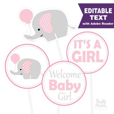 Pink Elephant Centerpiece, Editable Baby shower DIY Printable Centerpiece, Instant download -D331 BBEP1