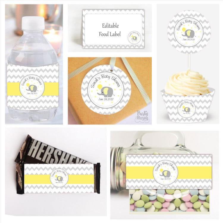 15 Amazing Yellow and Grey Elephant Chevron Baby Shower Ideas by Partymazing
