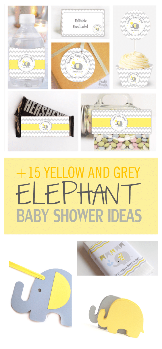 15 Amazing Yellow and Grey Elephant Chevron Baby Shower Ideas by Partymazing.com