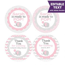 Editable She is ready to pop Tag, Printable Elephant Tags, Baby Shower Stickers, Party Favor Tag, Toppers, Instant Download -D910 BBEP1