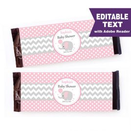 Elephant Chocolate Bar Wrappers, Girl Editable Pink and Grey Wrappers, DIY, Printable labels, DIY, Instant download -D335 BBEP1