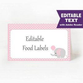 Elephant Food Labels, Buffet table, Printable Party, Pink and Gray Elephant With Balloon, DIY Printable, Instant Download -D002 BBEP1