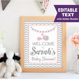 Elephant WELCOME Party sign, Editable  Printable Girl Baby Shower, Pink and Grey Chevron Elephant Baby Shower, Printable Sign -D086 BBEP1