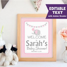 Elephant WELCOME Party sign, Editable Printable Girl Baby Shower, Pink and Grey Chevron Elephant Baby Shower, Printable Sign -D925 BBEP1