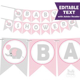 Pink Elephant Baby Shower Banner - Editable and Printable Banner - Pink and Gray Baby Shower Decorations - Baby Girl Garland D581 BBEP1