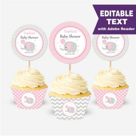 Pink Elephant Cupcake Toppers, EDITABLE Toppers, Instant download, Pink Elephant, Instant Download -D330 BBEP1