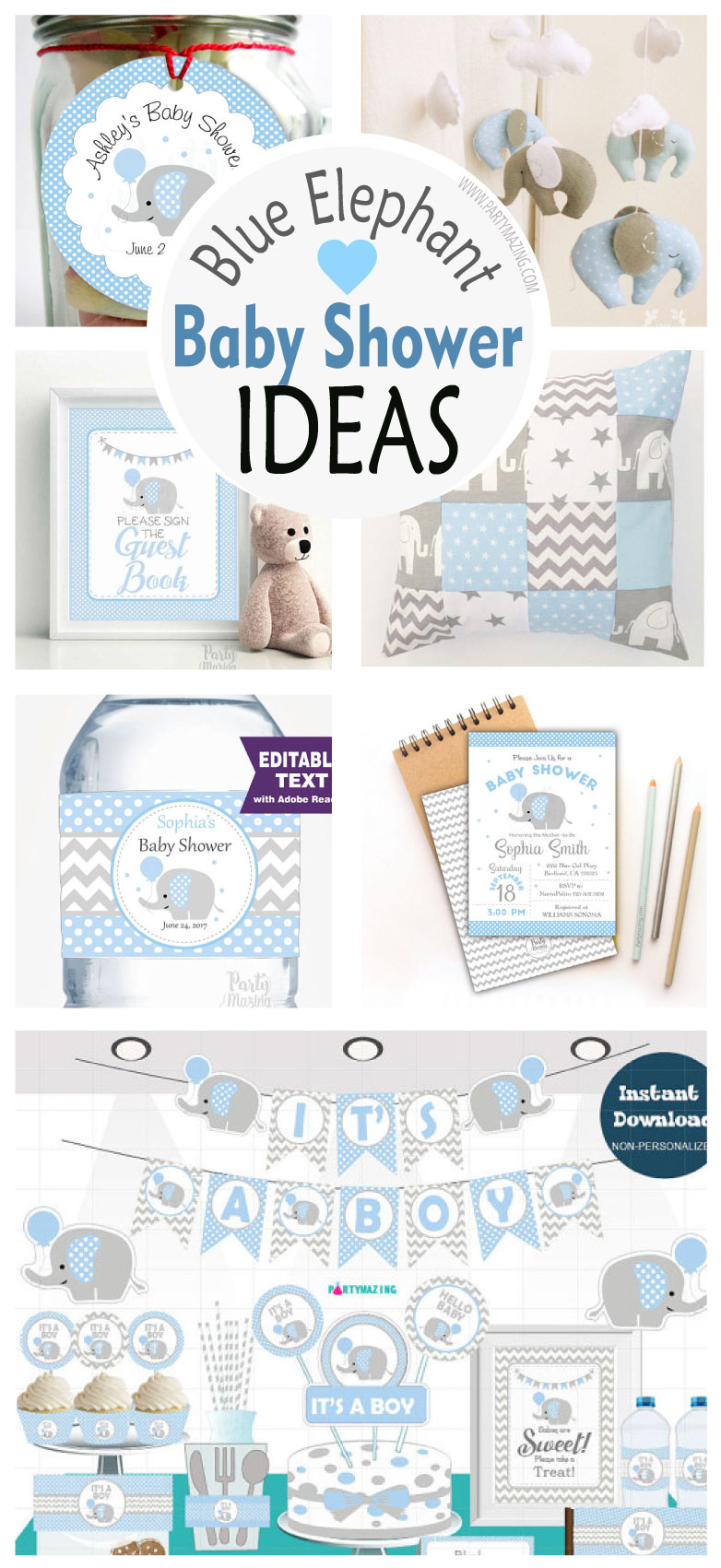 Prepare A Cute And Delicate Baby Shower Blue Gray Elephant Surprise Your Guests There Is On The Way This Great Joy But Also Comes