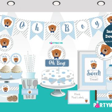 Little Bear Printable Baby Shower Package, Oh Boy,  Little Man Bow Tie Full Party Decoration Kit, Instant Download -BBLB1 D207