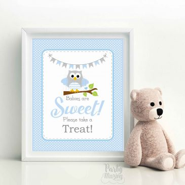 Babies Are Sweet Please Take A Treat Party Sign, Printable Owl Baby Shower Sign, Instant Download -D937 BBOB1