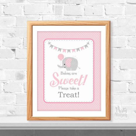 Babies Are Sweet Please Take A Treat Party Sign, Printable Pink and Grey Elephant Baby Shower Sign, Instant Download -D934 BBEP1