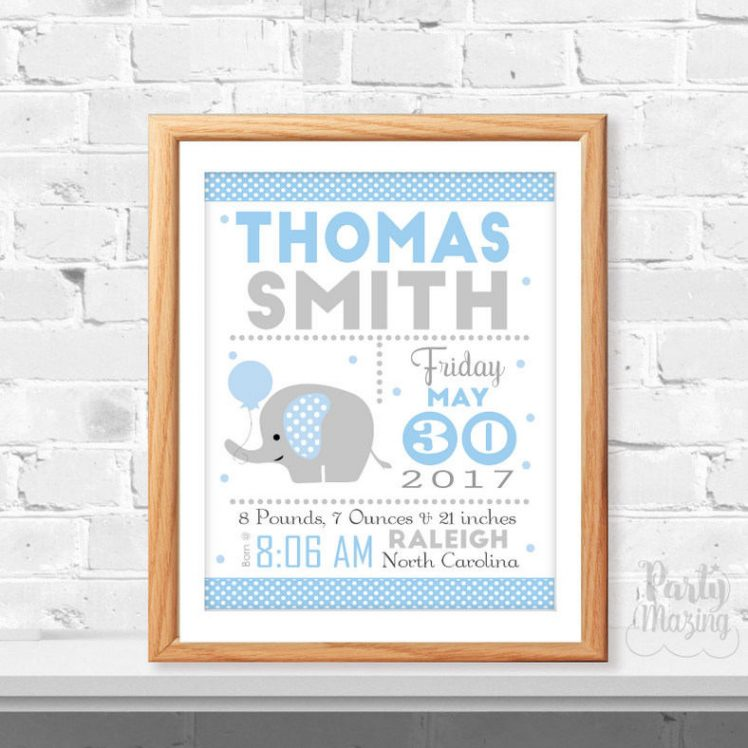 Baby Boy Elephant Printable Baby announcement, Blue Birth Stats, Birth stats, Elephant Nursery ,Instant Download -D371 BBEB1