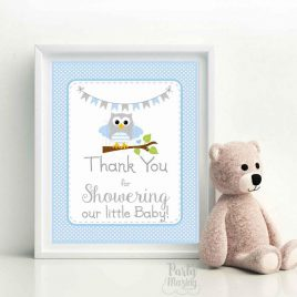 Blue Owl Baby Shower Printable Sign, Thank You For Showering Our Little Baby, Party Sign, DIY Printable, Instant Download BBOB1-D247