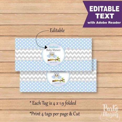 Blue Owl Bag Toppers, Editable Baby Boy owl Tag, DIY Printable, Instant Download -D977 BBOB1