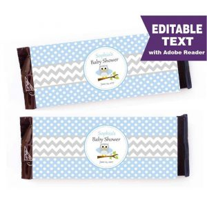 Blue Owl Candy Wrapper, Chevron Owl Chocolate Labels, Owl Baby shower, Owl Theme Party D969 BBOB1