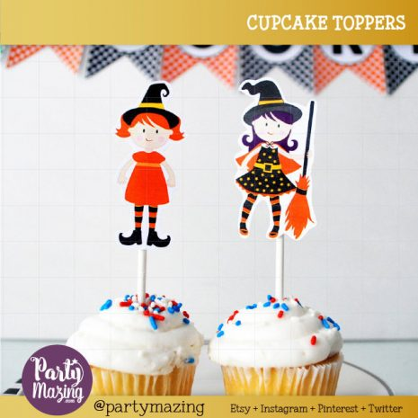 photograph relating to Printable Cupcakes Toppers known as Adorable Witches Cupcake Toppers, Printable Lovely Halloween Cupcake Toppers, Do-it-yourself Social gathering Tags, Fast obtain, Halloween Range D480 HOHW1