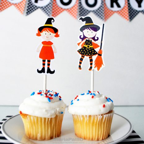 Cute Witches Cupcake Toppers, Printable Cute Halloween Cupcake Toppers, DIY Party Tags, Instant download, Halloween Collection D480 HOHW1
