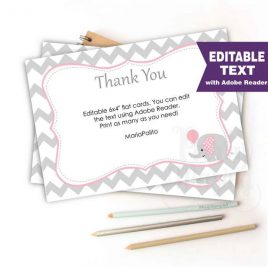 Editable Chevron Thank You Notes, Printable Baby shower Cards, Printable Note Cards, Pink Elephant Baby Shower Collection D543 BBEP2