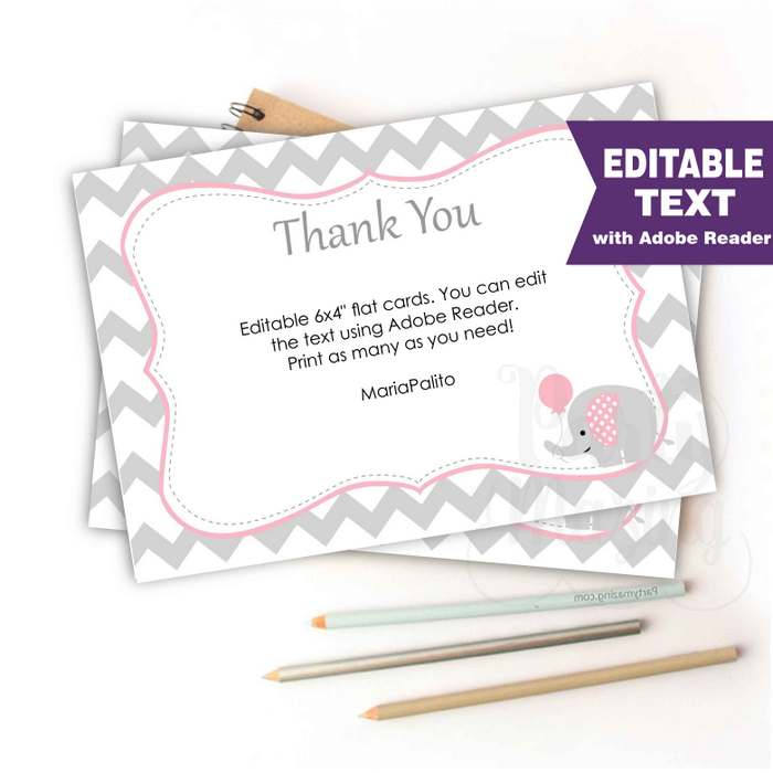 editable chevron thank you notes printable baby shower cards printable note cards pink - Baby Shower Cards