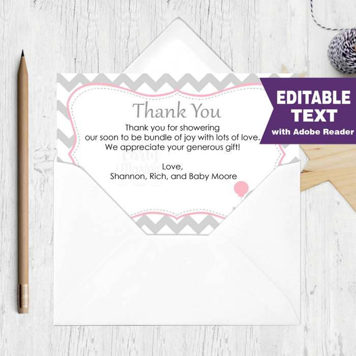 Editable Chevron Thank You Notes Printable Baby Shower