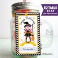 Editable Halloween Tags, Printable Happy Halloween, Little Witch Gift Party Favor Tags, Cupcake Toppers, Printable stickers -D989 HOHW1