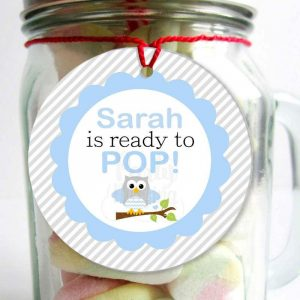 Editable She is ready to pop Tag, Printable Blue Owl Boy Baby Shower Stickers, Set of 4 Tags, Instant Download -D277 BBOB1