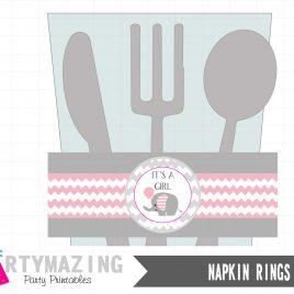 Elephant Printable Napkin Rings, Pink Elephant, DIY Printable, Instant download -D334 BBEP2