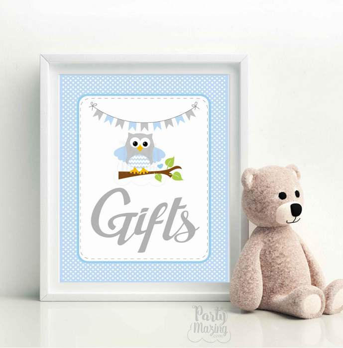 Gift Party Sign, Blue Owl Baby Shower Gift Table Sign, Chevron,Party Sign, DIY Printable, Instant Download -D950 BBOB1