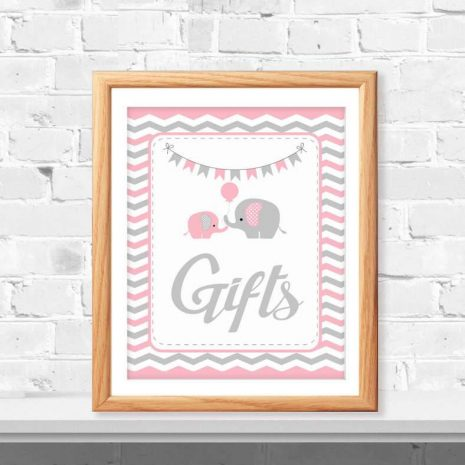 Gift Table Sign, Elephant Baby Shower Favor Sign, Pink and Grey Chevron, Party Sign, DIY Printable, Instant Download - D932 BBEP2
