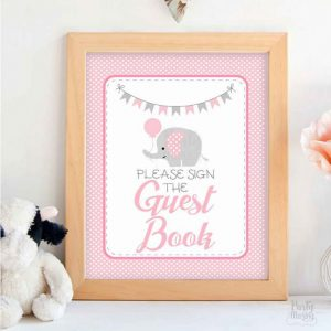 Guest Book Party Sign, Printable Party, Pink and Gray Elephant Printable Party Sign, Diy Sign, Instant Download -D938 BBEP1