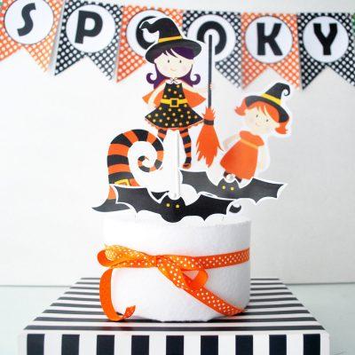 Halloween Centerpiece, Cute Witches, DIY Printable Centerpiece, Instant download Halloween Collection D481 HOHW1