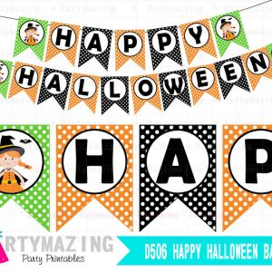 Happy Halloween Banner, Cute Witch, Printable Happy Halloween Banner  D506 HOHW1