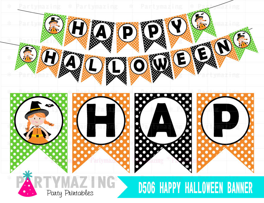 image relating to Halloween Banner Printable known as Satisfied Halloween Banner, Lovely Witch, Printable Pleased Halloween Banner D506 HOHW1