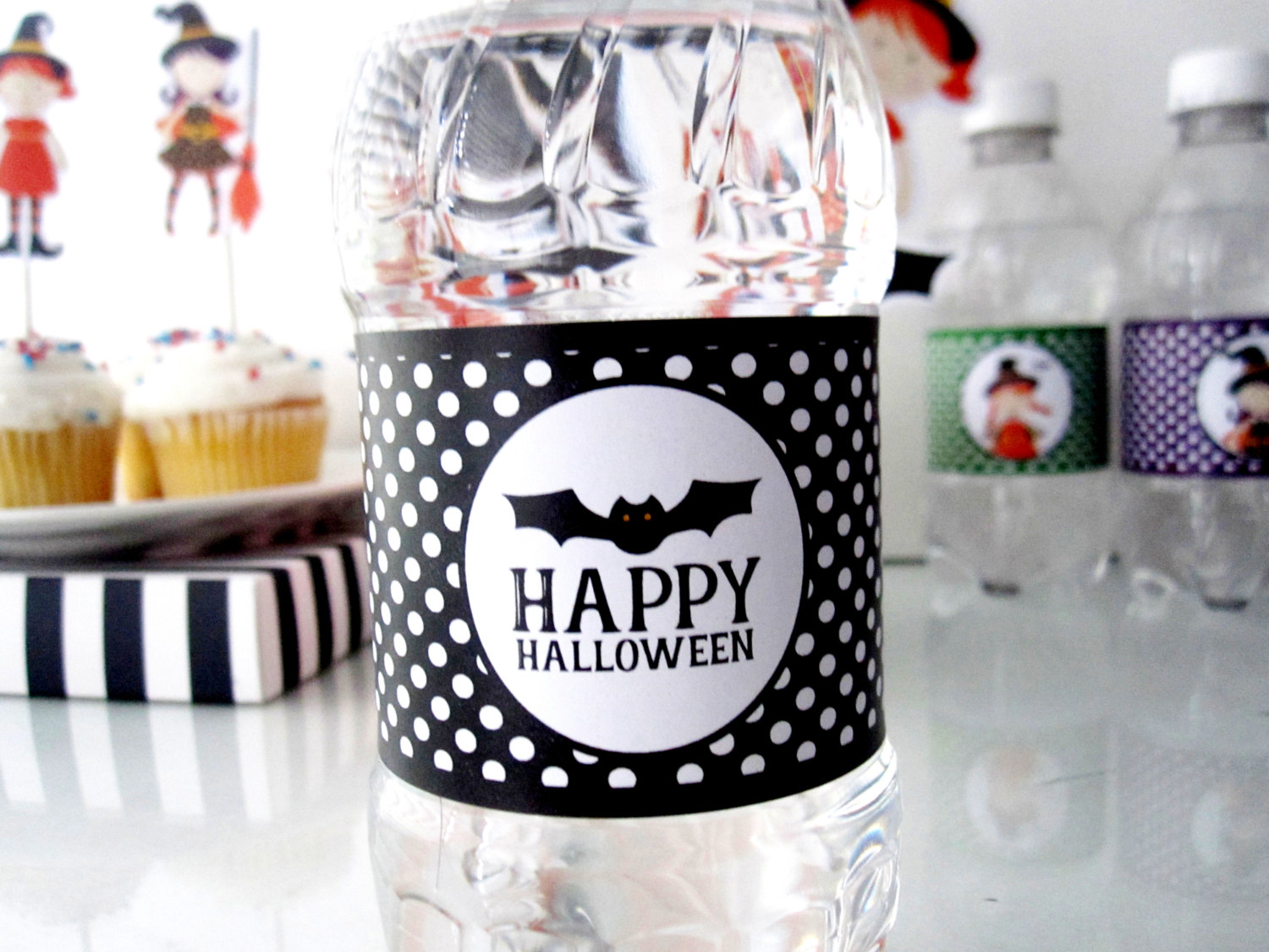 happy halloween water bottle labels, printable labels, bat halloween