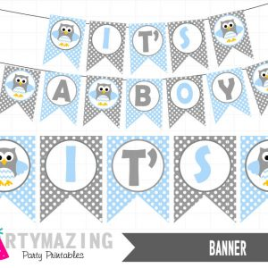 It's a Boy Owl Printable Banner, Baby Blue Baby Shower, DIY Printable Banner, party Decor Sign, Instant Download -D547 BBOB1