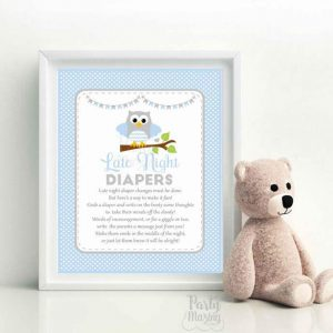 Late Night Diaper Party Sign, Printable Blue Owl Printable Party Sign, Baby Shower Sign, Instant Download -D958 BBOB1