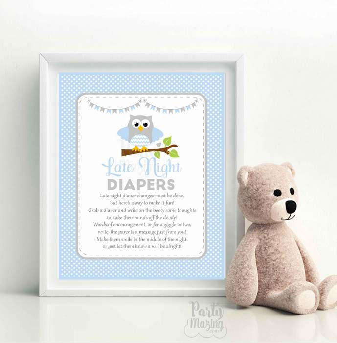 photo regarding Late Night Diapers Printable known as Late Evening Diaper Bash Indicator, Printable Blue Owl Printable Occasion Signal, Youngster Shower Indication, Prompt Obtain -D958 BBOB1