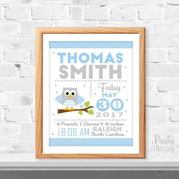 Owl Printable Baby Announcement Blue Nursery Birth Stats Wall Art