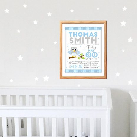 Owl Printable Baby Announcement, Baby Blue Nursery, Baby Birth Stats, Printable Wall Art -D397 BBOB1