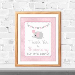 Pink Baby Shower Printable Sign, Thank You For Showering Our Little Peanut, Party Sign, DIY Printable, Instant Download -D030 BBEP1