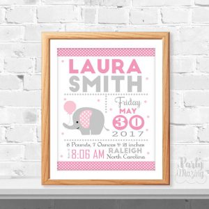 Pink Elephant Birth Announcement, Printable Baby Birth Stats, Modern Baby, Birth stats, Elephant Nursery ,Instant Download -D372 BBEP1 BBEP2