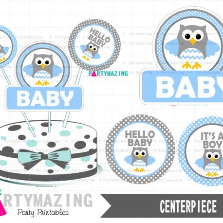 Printable Owl Centerpiece, Baby Blue Owl Baby Shower, It's a Boy, DIY Printable, Instant Download -D427 BBOB1