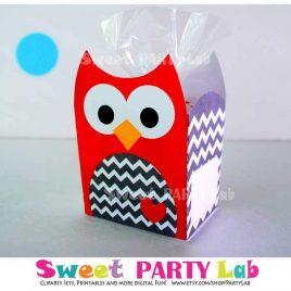 Christmas Owl Printable Box, Red Chevron Owl Box, Owl Birthday Party, Birthday Decorations D082