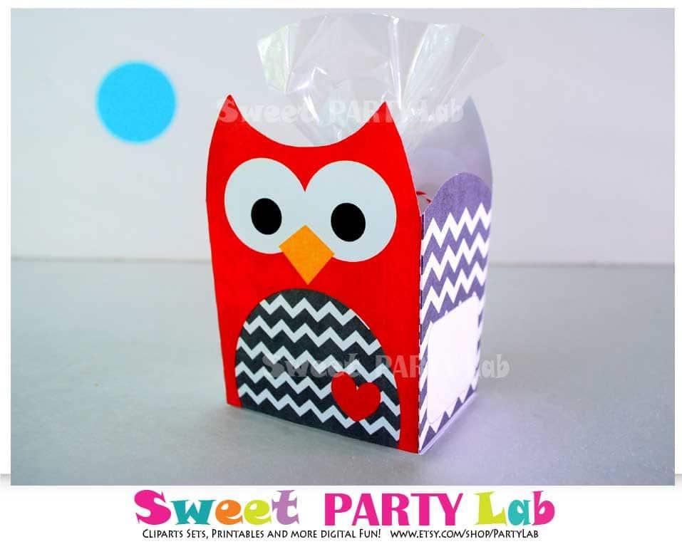 graphic about Christmas Printable Decorations titled Xmas Owl Printable Box, Crimson Chevron Owl Box, Owl Birthday Celebration, Birthday Decorations D082