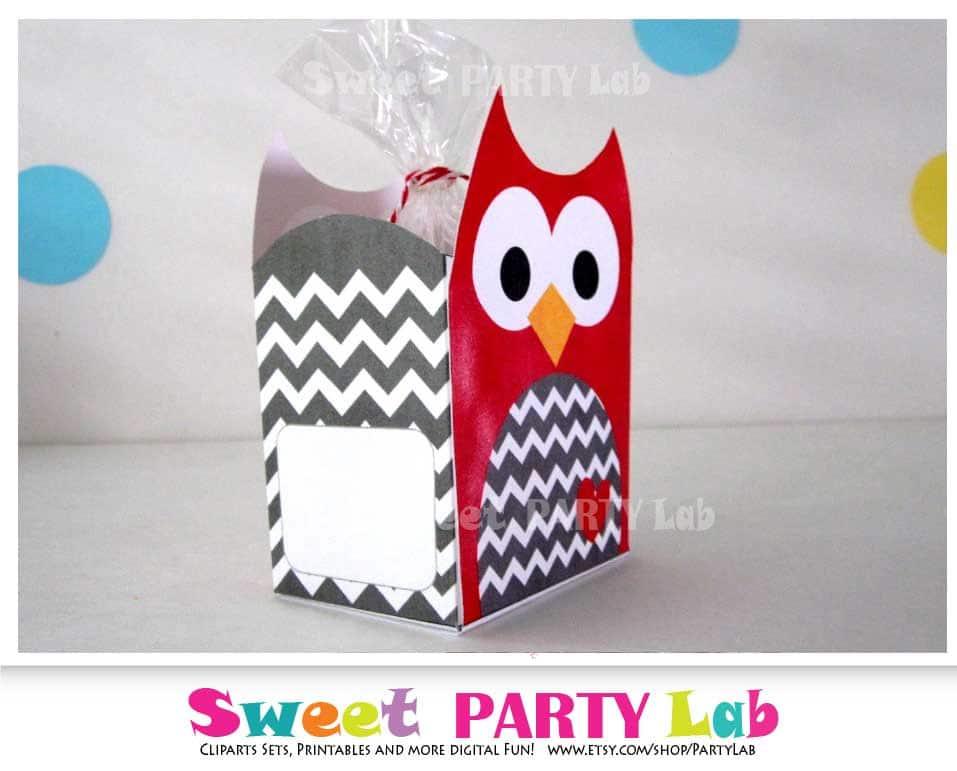 graphic regarding Printable Birthday Decorations named Xmas Owl Printable Box, Pink Chevron Owl Box, Owl Birthday Celebration, Birthday Decorations D082