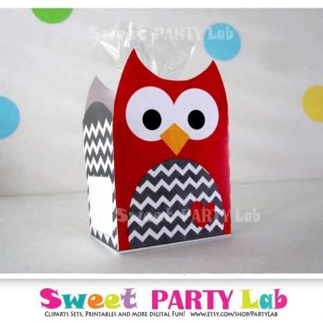 Christmas Owl Printable Box, Red Chevron Owl Box, Owl Birthday Party, Birthday Decorations D082