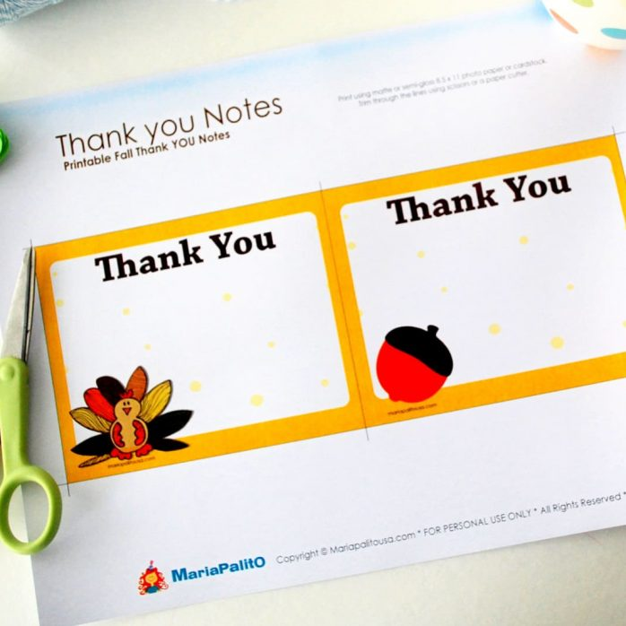 Editable Printable Thank You Notes, Thanksgiving Notes, Fall Thank You Cards, Instant Download,  D497