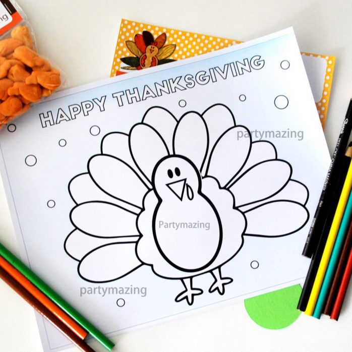 Printable Thanksgiving Coloring Page, Cute Turkey Thanksgiving Page, Happy Thanksgiving Dinner, Instant Download -D496 HOTH1