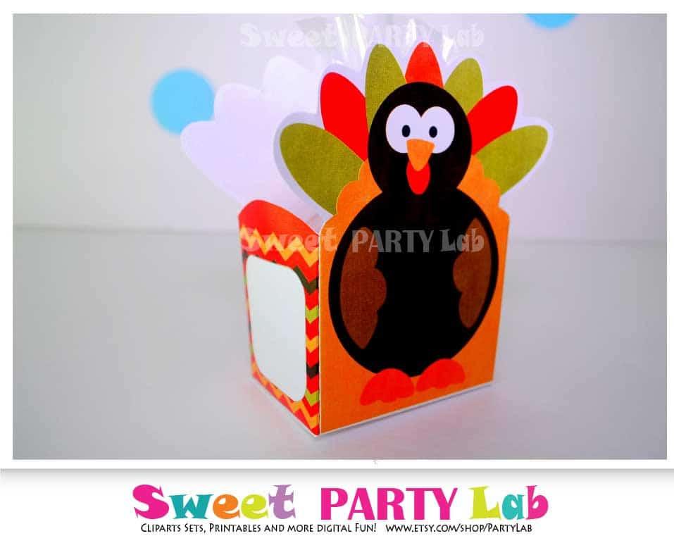 Printable Thanksgiving Turkey Box, Turkey Printable Party ...